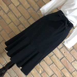 Ann Taylor black trumpet skirt with tie at front